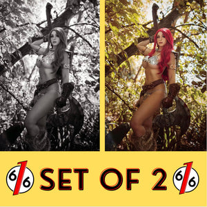 🚨🔥🗡 RED SONJA THE SUPERPOWERS #1 SET OF 2 1:11 B&W & 1:35 Cosplay Virgin NM