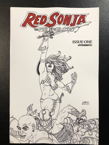 RED SONJA THE PRICE OF BLOOD #1 Linsner 1:30 B&W Sketch Variant