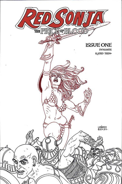🚨🔥🗡 RED SONJA THE PRICE OF BLOOD #1 Linsner 1:30 B&W Sketch Variant NM