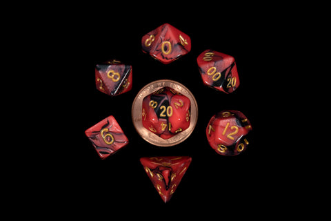 Mini Dice Set: Red/Black & Gold