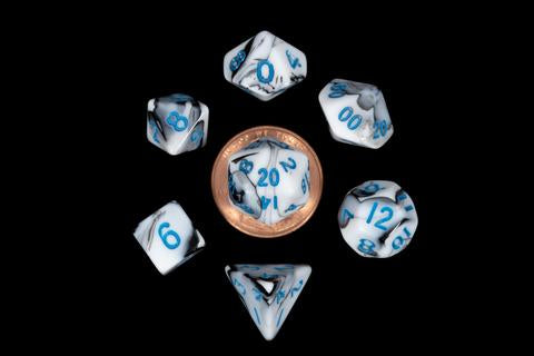 Mini Dice Set: Marble/Blue