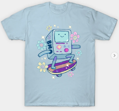 T-Shirt: BMO - Skateboard - Light Blue