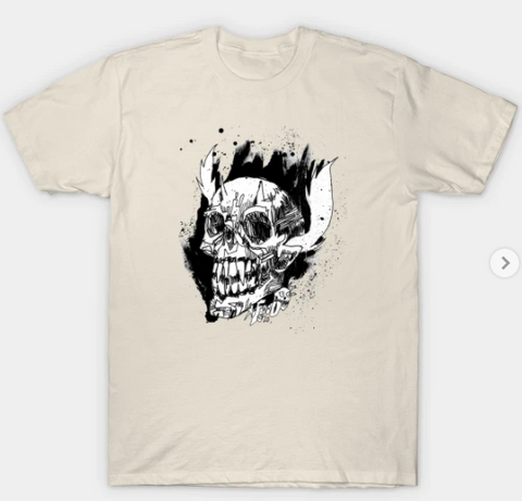 T-Shirt: Devil Skull's Day Out - Creme