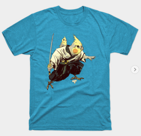 T-Shirt: Lone Bird and Chick - Heather Turquoise
