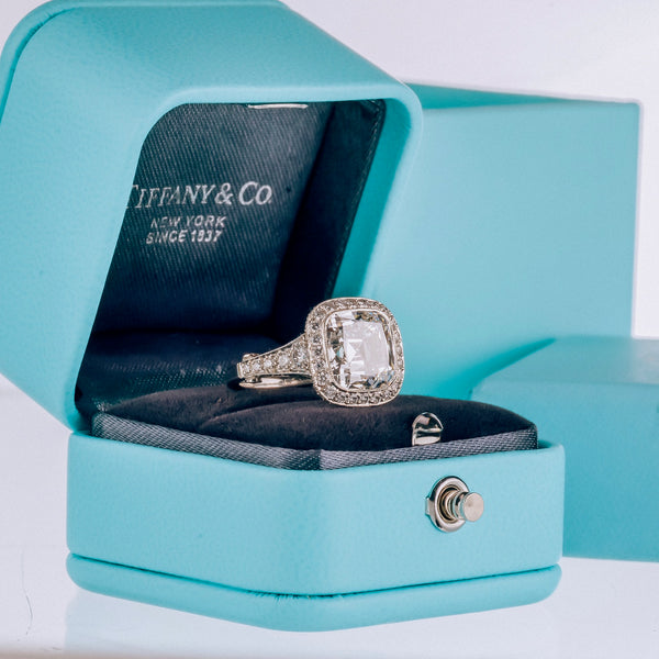 Tiffany Blue Box With A 5 Carat Engagement Ring