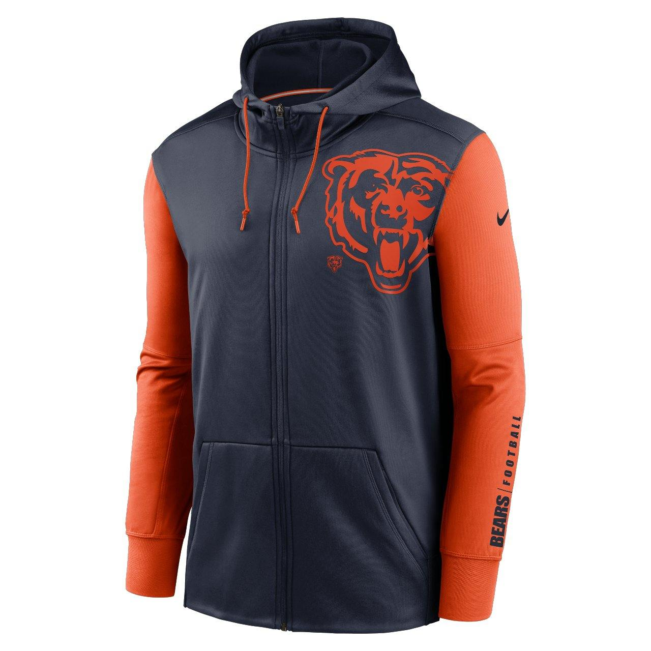 Nike Chicago Bears Left Chest Mascot cipzáras kapucnis pulóver