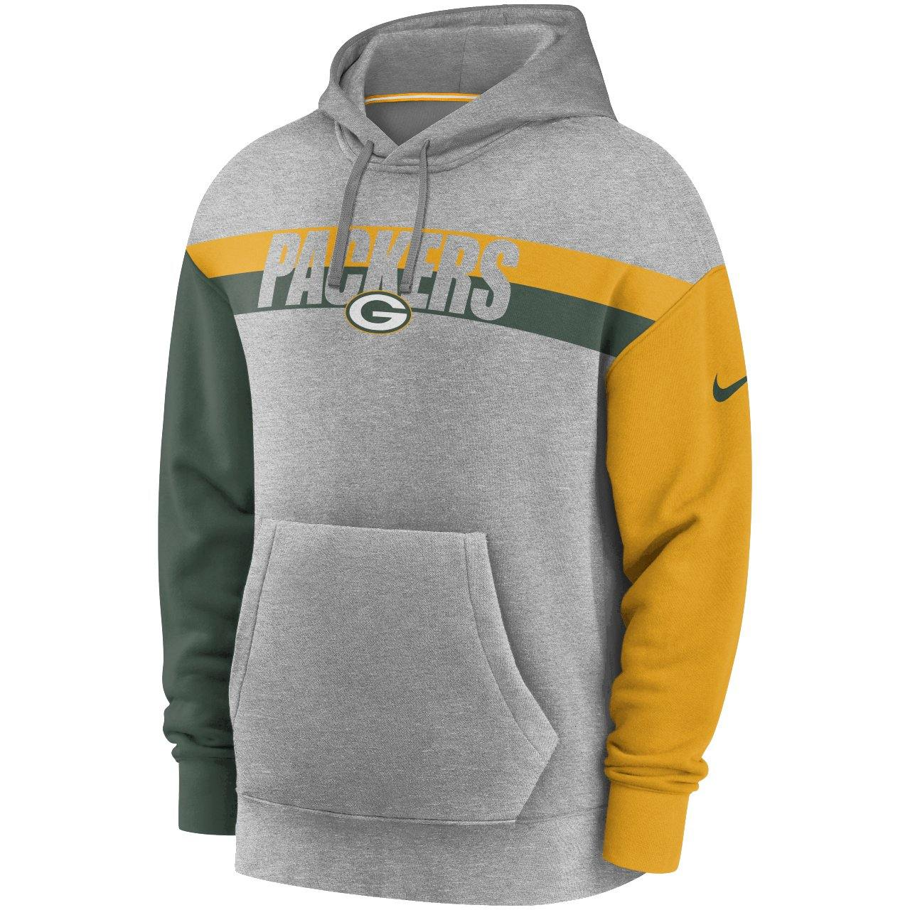 Nike Green Bay Packers Wordmark Long Sleeve Heritage kapucnis pulóver
