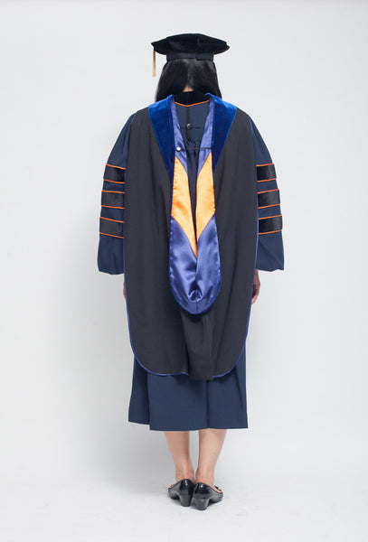 UVA blue and orange PhD graduation gown, hood, tam