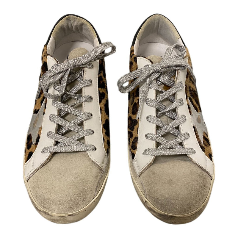 "Golden Goose ""Superstar"" Low Top Sneakers Leopard Print Calf Hair - Size 40"
