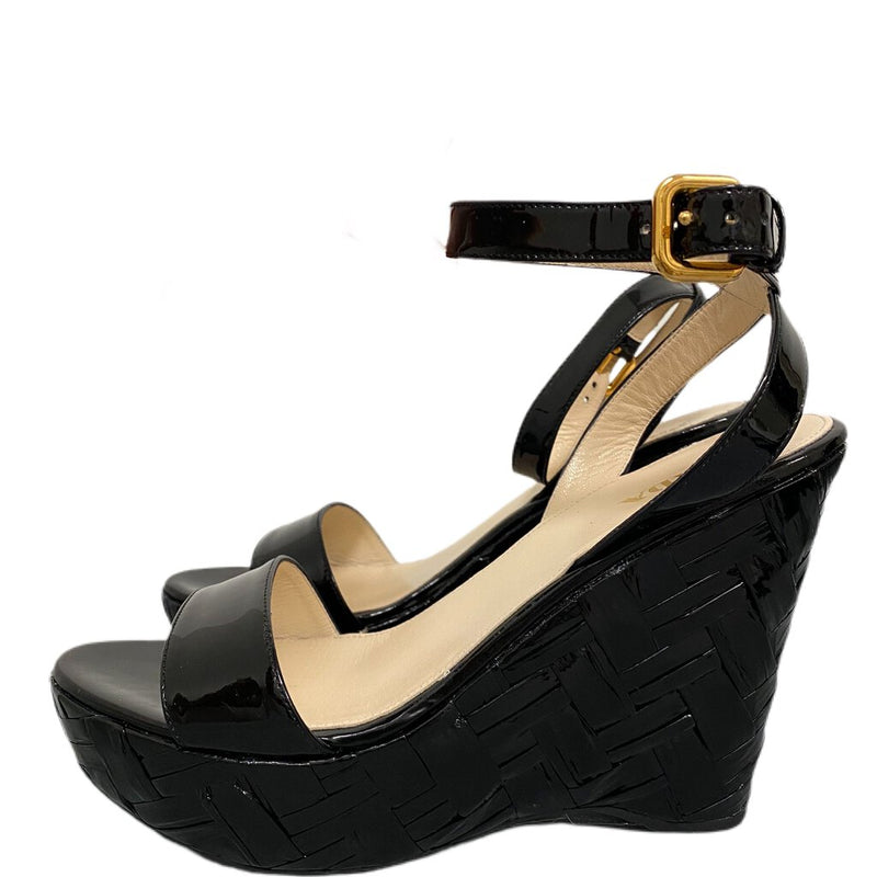 Prada Platform Open Toe Wedges Black Patent Leather - Size 40