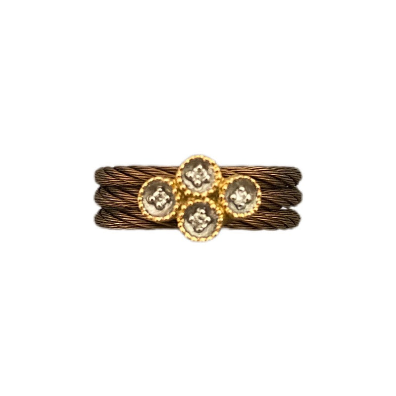 Charriol 18K Gold and Diamond Cable Ring - Size 6
