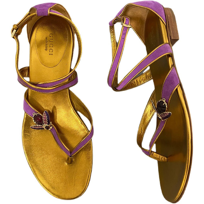 Gucci Bee Sandals Suede - Size 8
