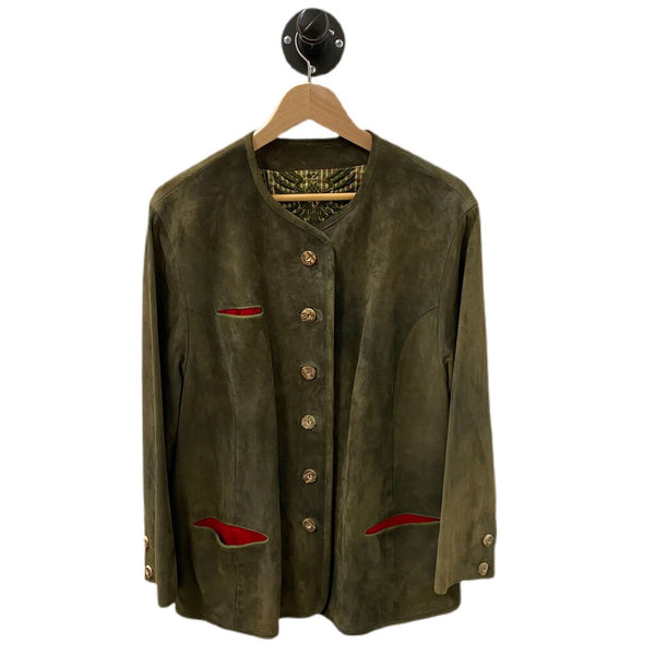 Walter Austrian Bavarian Style Suede Leather Jacket - Size 42