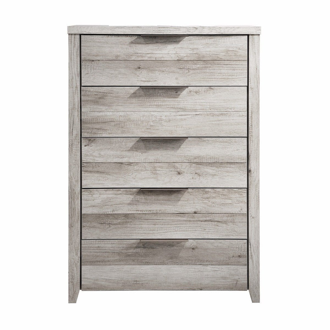 Tallboy, White Ash, 5 Drawer