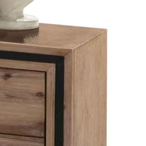 Bedside Drawers, Acacia and Veneer, 2 Drawers