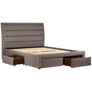 Bed Frame, Fabric Upholstered, Light Grey, Queen