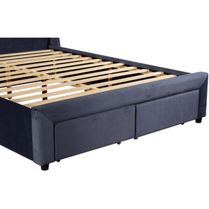 Bed Frame, Navy Blue, Queen