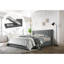 Load image into Gallery viewer, King Sized Winged Fabric Bed Frame with Gas Lift Storage in Light Grey