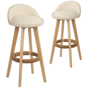 Davar Bar Stools, Leather, Beige (Set of 2)