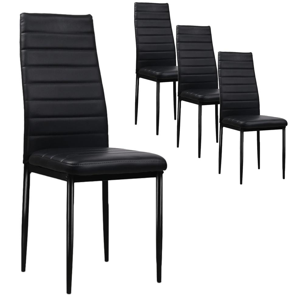 Dining Chairs, Leather, Black (Set of 4)