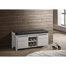 Load image into Gallery viewer, Bench Shoe Cabinet Leather Upholstery In White Oak