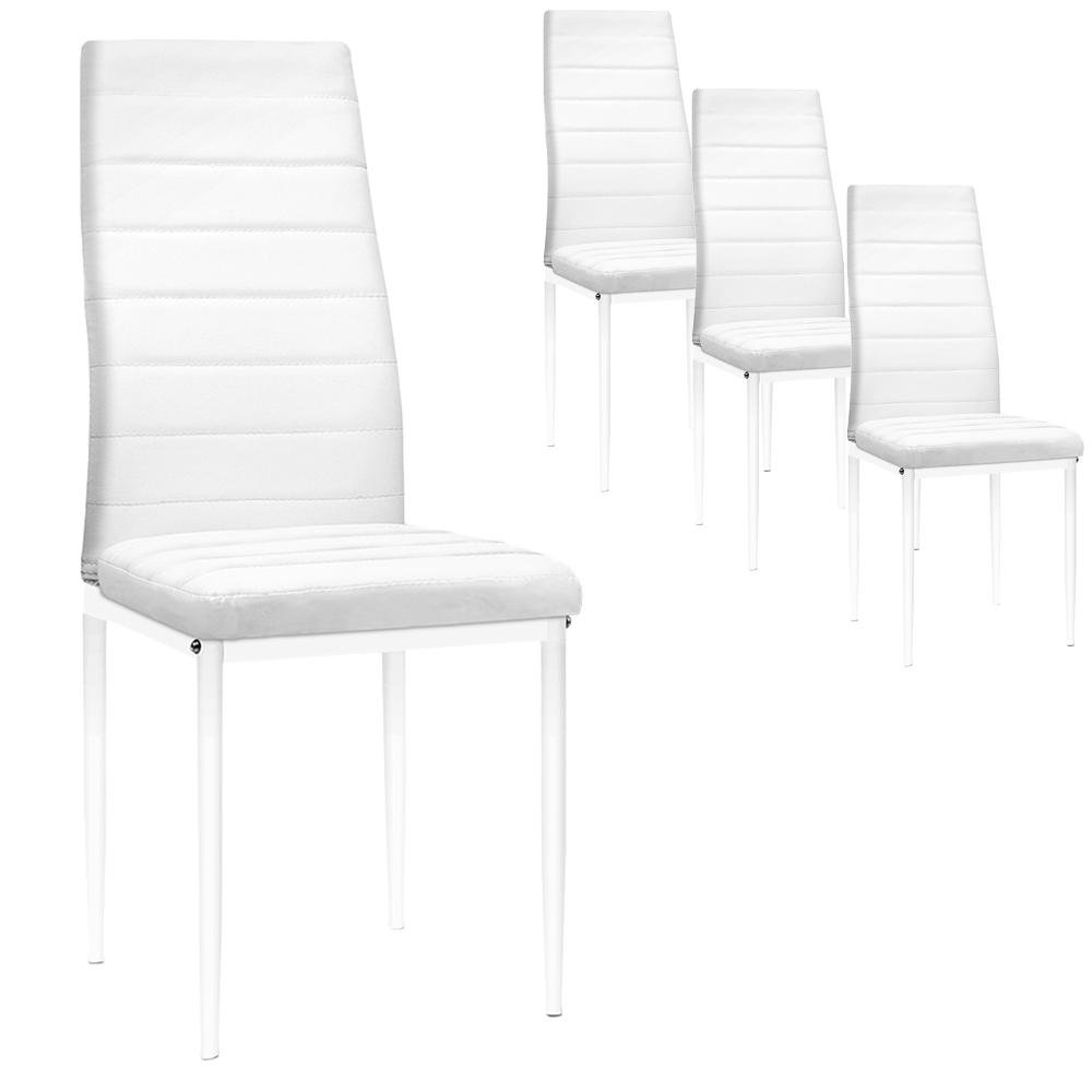 Dining Chairs, Leather, White (Set of 4)
