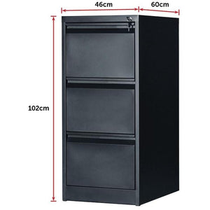 Filing Storage Locker Cabinet, 3 Door, Black