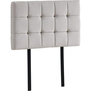 Bed Headboard, Linen Fabric, Tufted, Deluxe, Beige, Single