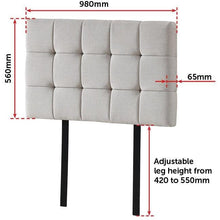 Load image into Gallery viewer, Bed Headboard, Linen Fabric, Tufted, Deluxe, Beige, Single