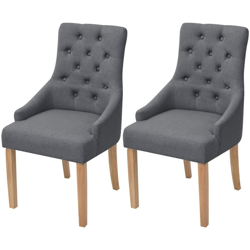 Dining Chairs, Fabric Upholstery, Oakwood Legs, Dark Grey (Set of 2)