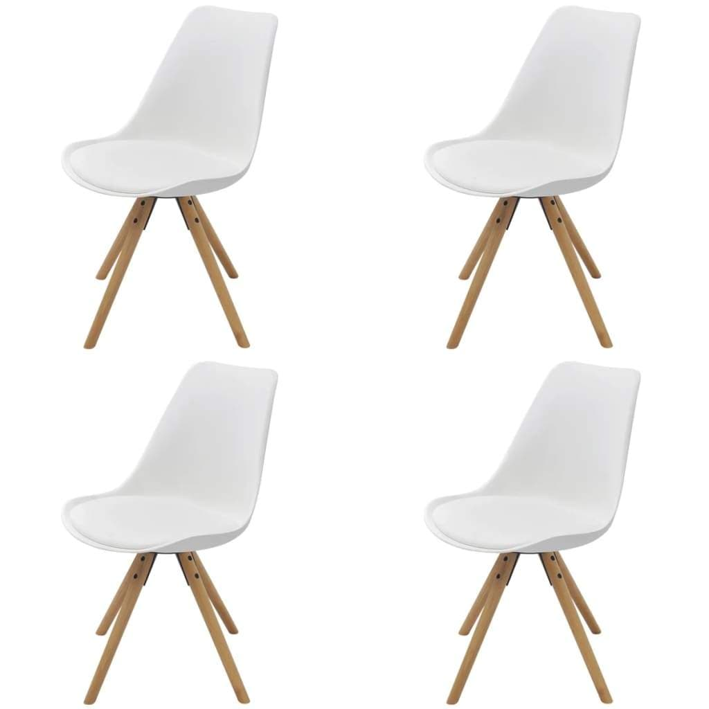 Dining Chairs, Plastic Frame, Artificial Leather Upholstery, Beechwood Feet, Round Corners, White (Set of 4)