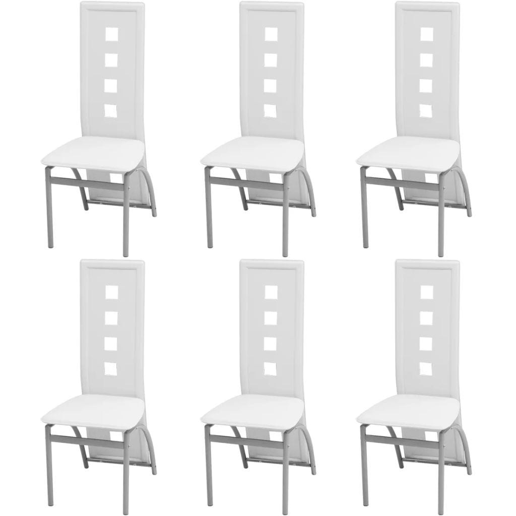 Dining Chairs, Faux Leather, Powder Coated Steel Legs, White (Set of 6)