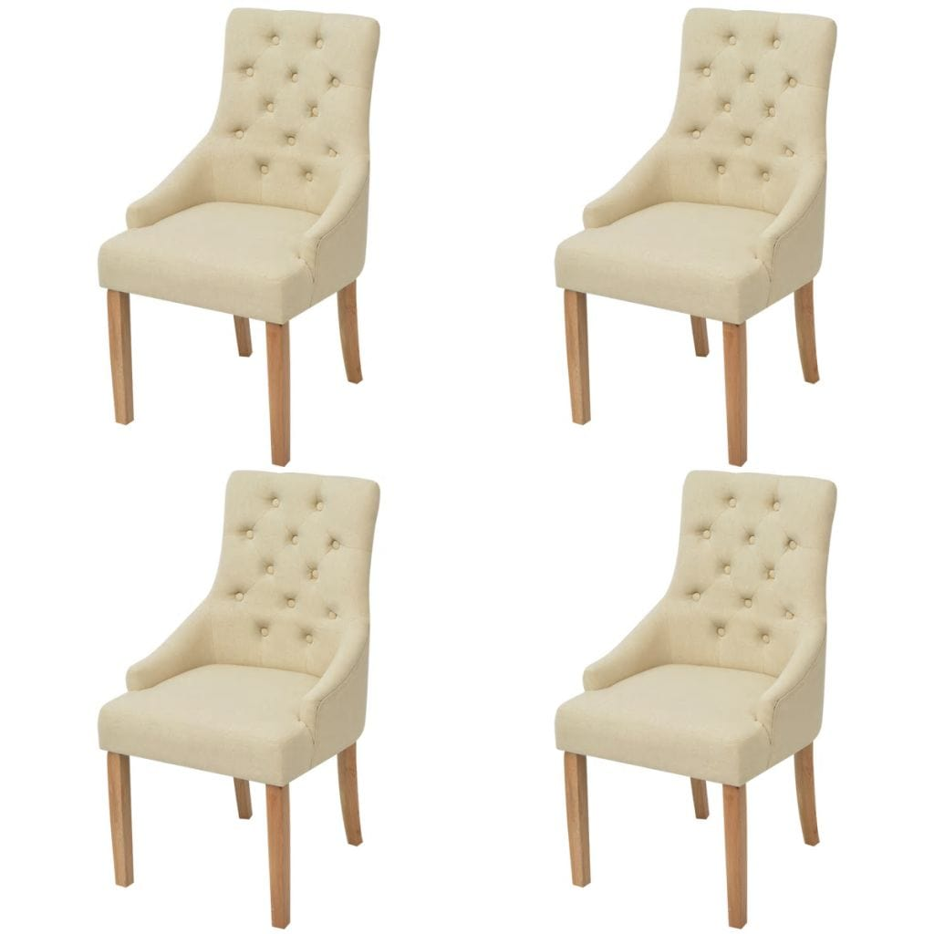 Dining Chairs, Fabric, Oakwood Legs, Cream (Set of 4)