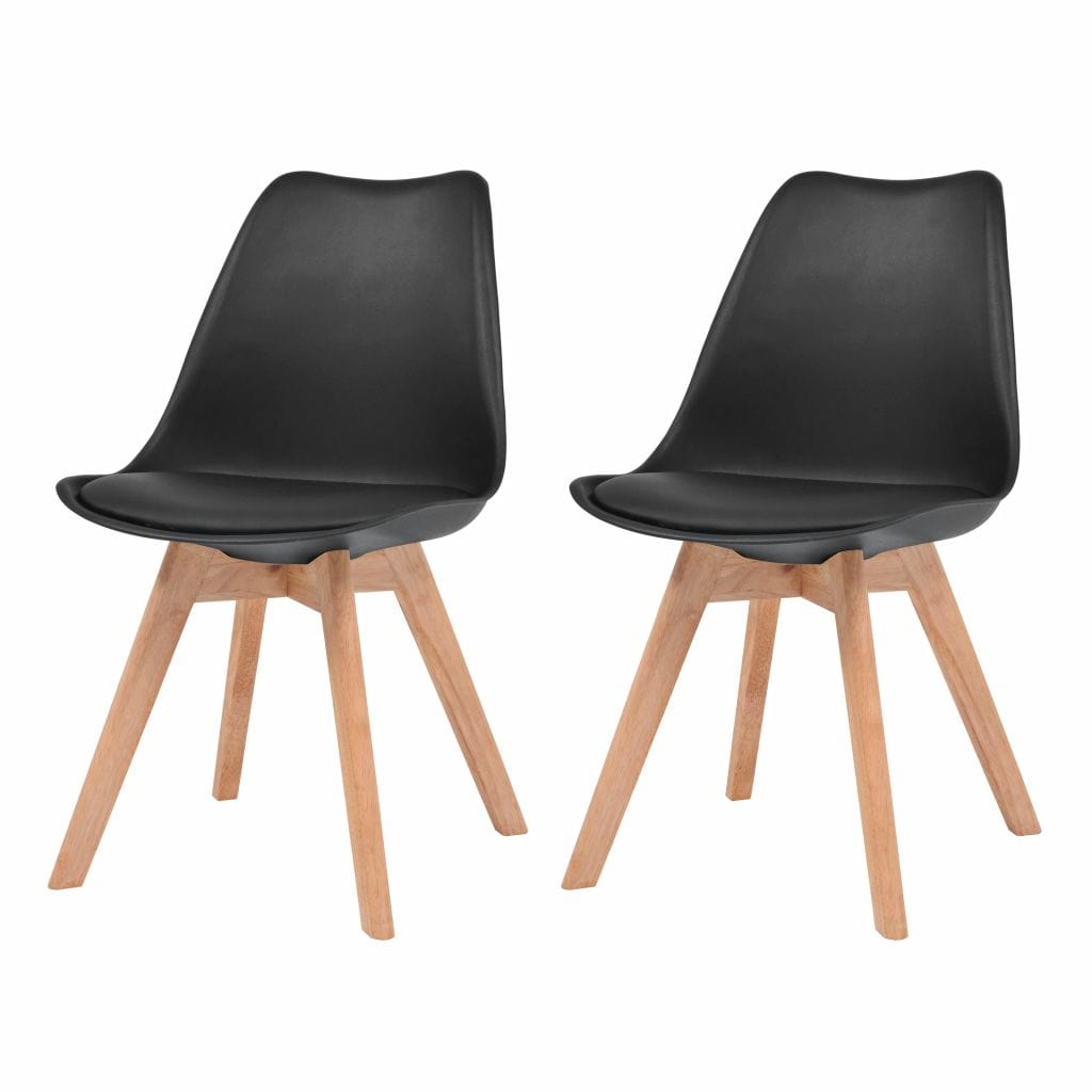 Dining Chairs, Plastic, Beechwood, Rubberwood, Artificial Leather, Black (Set of 2)