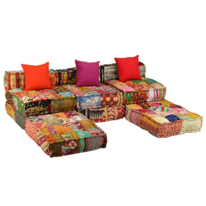Sofa Bed, Modular, Fabric, Patchwork, 3-Seater