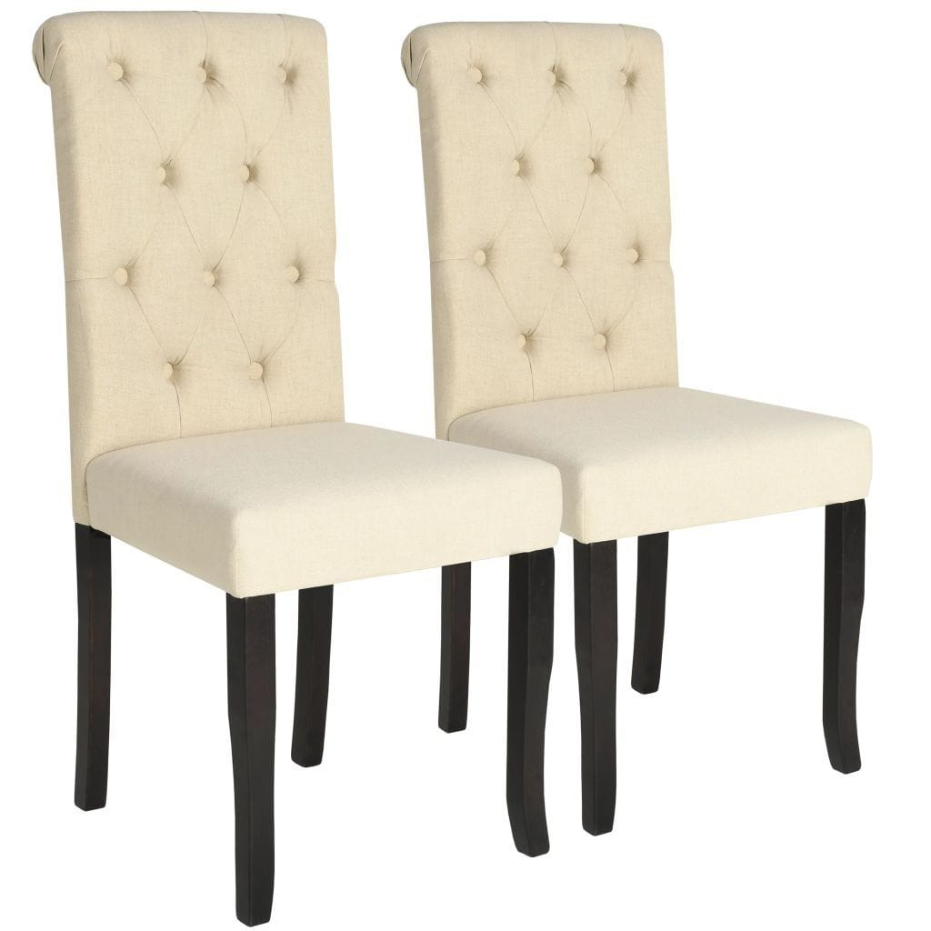 Dining Chairs, Wooden Frame, Fabric Upholstery, Cream (Set of 2)