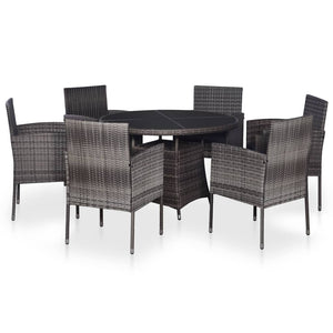 Outdoor Dining Set, 7 Piece, with Cushions, Poly Rattan, Grey