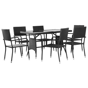 Outdoor Dining Set, 7 Piece, Poly Rattan, Black