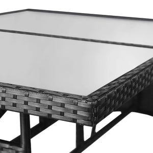 Garden Table, Poly Rattan, Black, 140x80x74cm