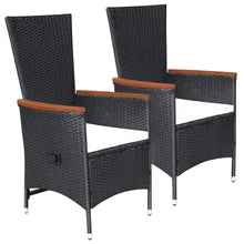 Load image into Gallery viewer, Outdoor Chairs with Cushions, Poly Rattan, Black (Set of 2)