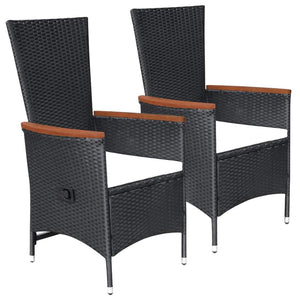 Outdoor Chairs with Cushions, Poly Rattan, Black (Set of 2)