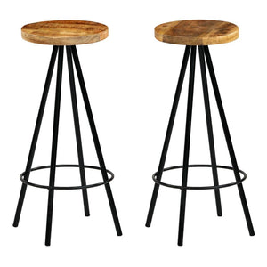 Bar Chairs, Solid Mango Wood (Set of 2)