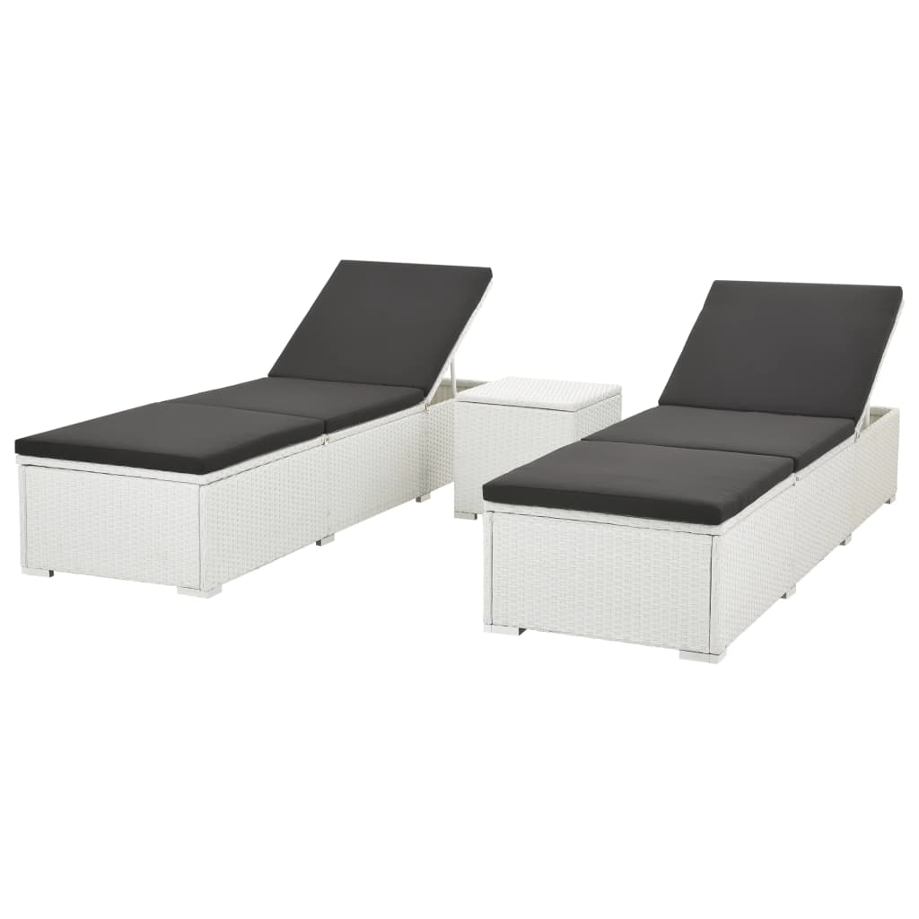 Sun Lounger with Cushion Poly Rattan, White (Set of 2)