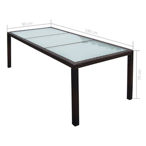 Garden Table, Poly Rattan and Glass, Brown, 190x90x75cm