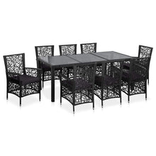 Load image into Gallery viewer, Outdoor Dining Set, Poly Rattan, Black (9 Piece)