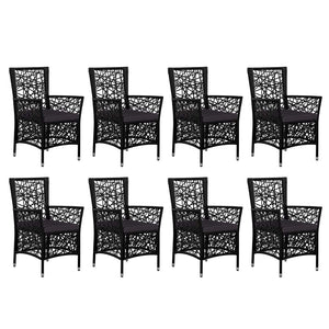 Outdoor Dining Set, Poly Rattan, Black (9 Piece)