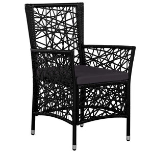 Outdoor Dining Set, Poly Rattan, Black (7 Piece)