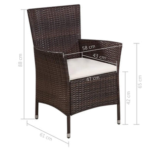 Outdoor Chair and Stool with Cushions, Poly Rattan, Brown