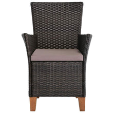 Load image into Gallery viewer, Outdoor Chairs with Cushions, Poly Rattan, Brown (Set of 2)