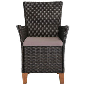 Outdoor Chairs with Cushions, Poly Rattan, Brown (Set of 2)
